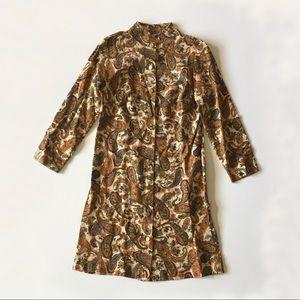 Vintage 70s Brown Paisley Long Sleeve Mini Dress